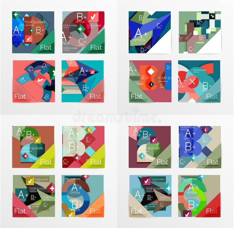 Insegne geometriche di informazioni di progettazione piana, scatole di web illustrazione vettoriale