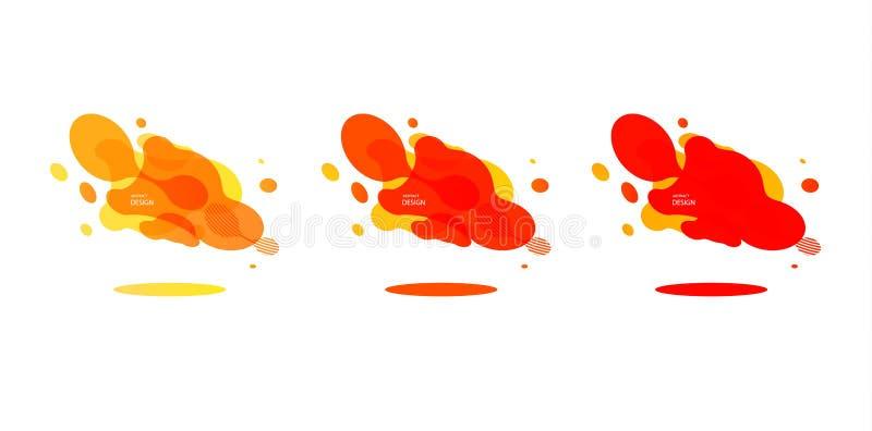 Insegne geometriche di pendenza con le forme di liquido corrente Progettazione fluida dinamica per il logo, le alette di filatoio illustrazione vettoriale