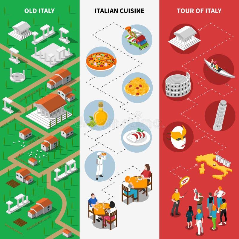 Insegne isometriche culturali italiane della bandiera nazionale royalty illustrazione gratis
