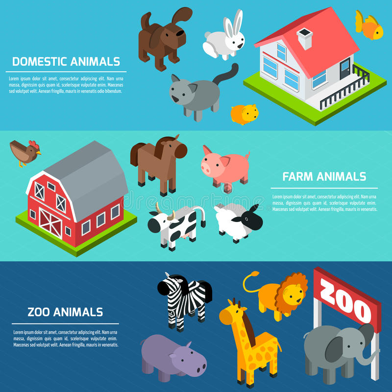 Insegne isometriche degli animali illustrazione di stock
