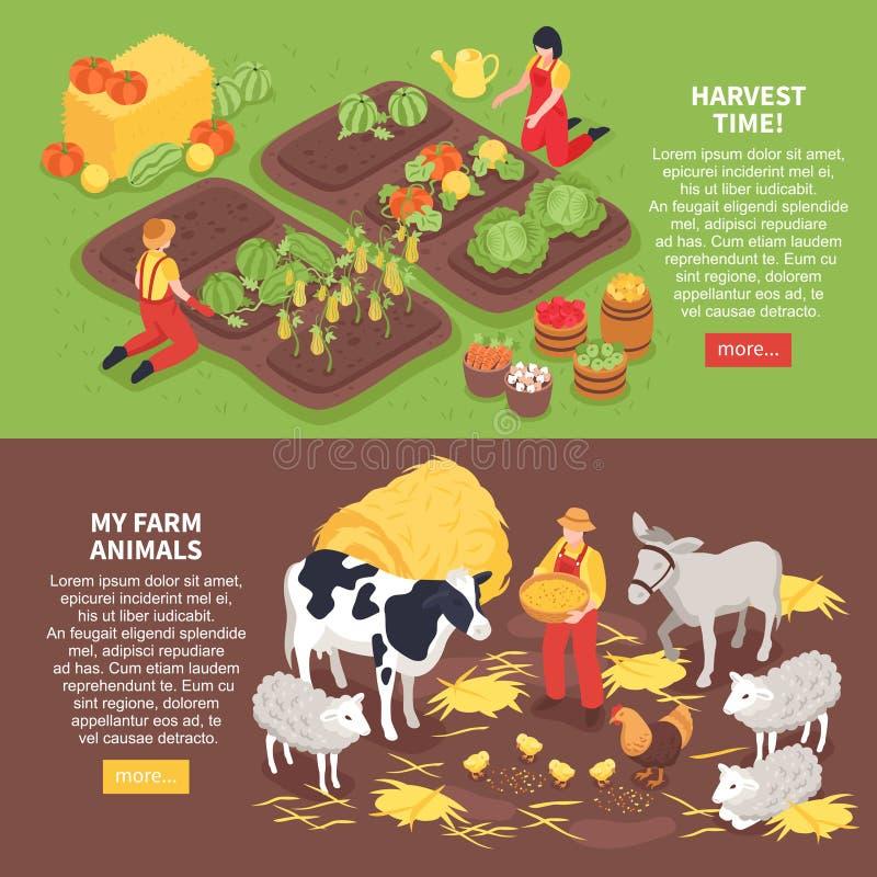 Insegne isometriche dell'azienda agricola royalty illustrazione gratis