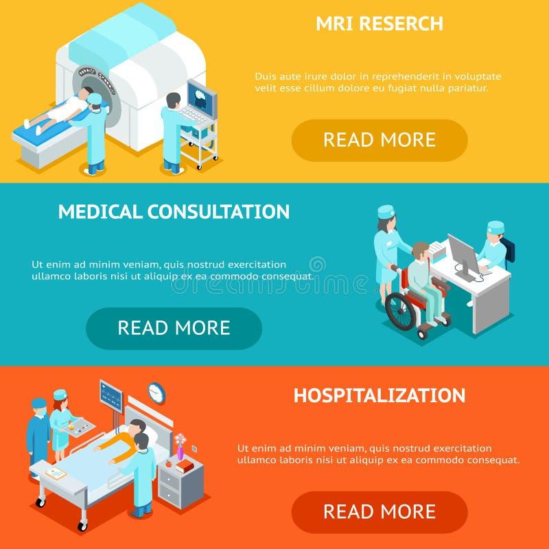 Insegne isometriche piane 3d di sanità Ricerca medica, consultazione ed ospedalizzazione di RMI illustrazione di stock