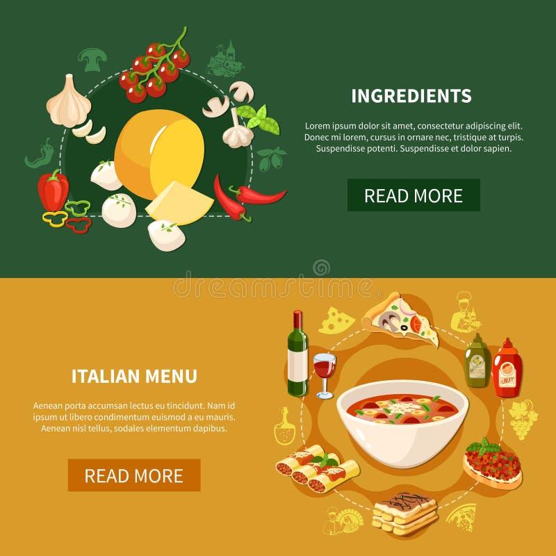 Insegne italiane di orizzontale dell'alimento illustrazione vettoriale