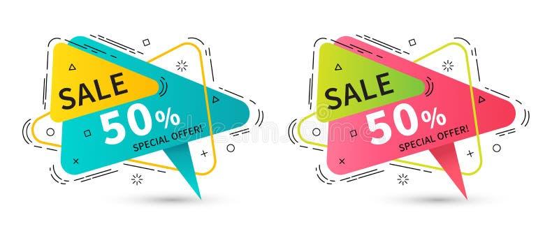 Insegne lineari piane del nastro di promozione, prezzi da pagare, autoadesivi, badg illustrazione vettoriale