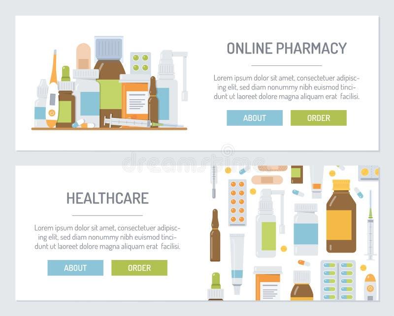 Insegne mediche messe di web illustrazione vettoriale