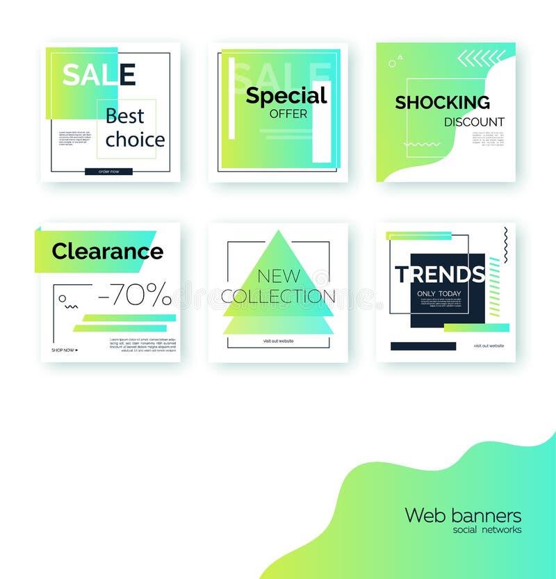 Insegne, modelli per la promozione sociale della posta di media Ambiti di provenienza quadrati geometrici illustrazione di stock