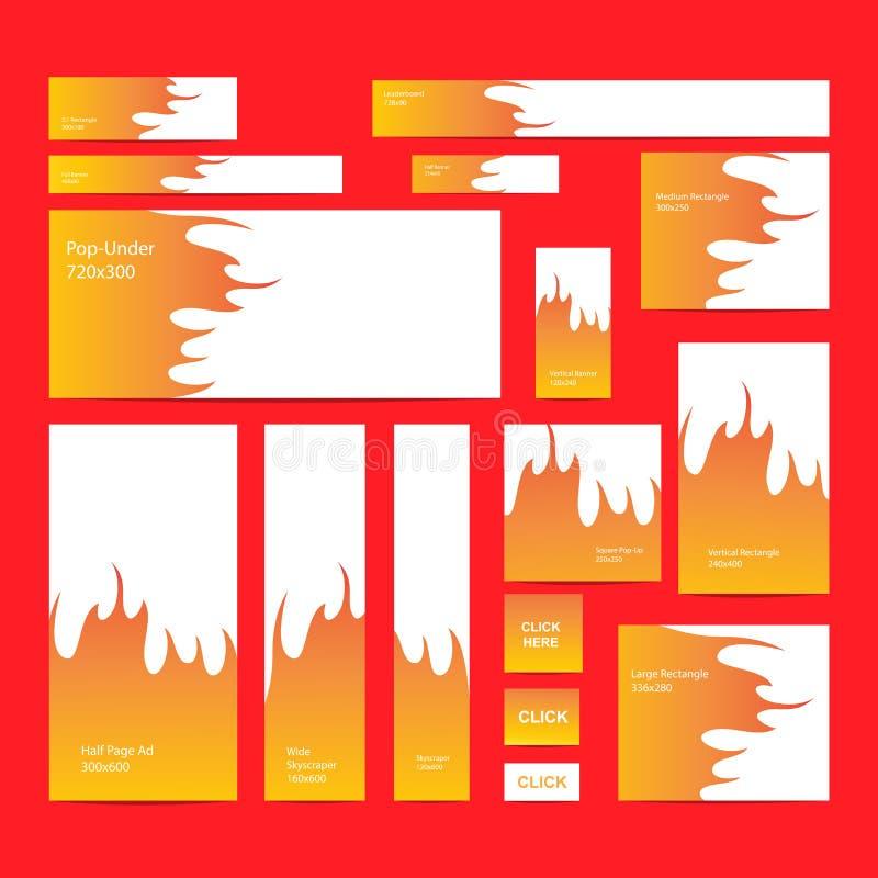 Insegne moderne di web messe nelle dimensioni standard illustrazione di stock