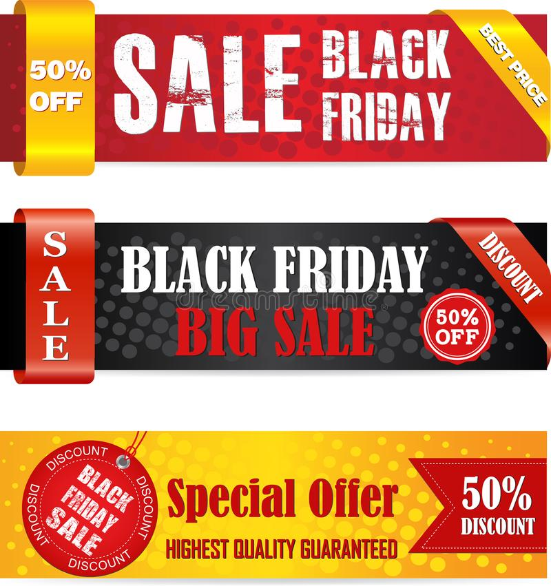 Insegne nere di vendita di venerdì illustrazione di stock