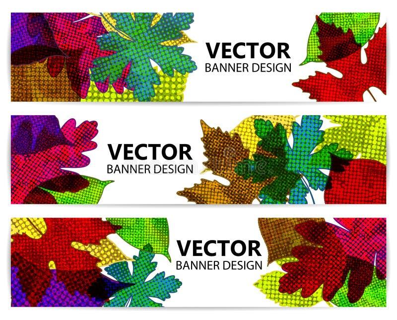 Insegne o ambiti di provenienza di autunno con le foglie variopinte illustrazione vettoriale