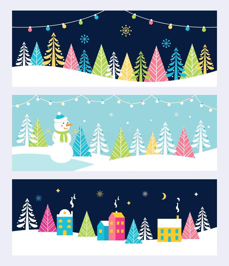 Insegne o intestazioni festive ambiti di provenienza di eventi di vacanze invernali e di Natale, con paesaggio, pupazzo di neve,  illustrazione vettoriale