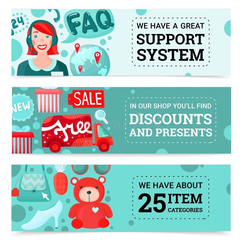 Insegne online del deposito messe illustrazione di stock