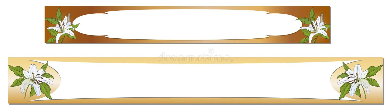 Insegne orizzontali con i fiori del giglio bianco su un fondo dell'oro Vettore illustrazione di stock