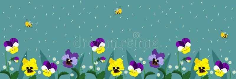 Insegne orizzontali con le api ed i fiori svegli Un manifesto con le api di volo ed i petali di caduta di colore del turchese Vet illustrazione di stock