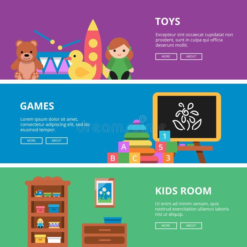 Insegne orizzontali con le immagini dei giocattoli per i bambini illustrazione vettoriale