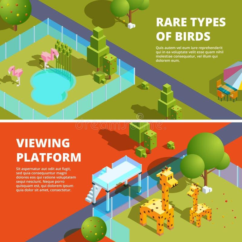 Insegne orizzontali con lo zoo e gli animali divertenti Illustrazioni isometriche 3d illustrazione vettoriale