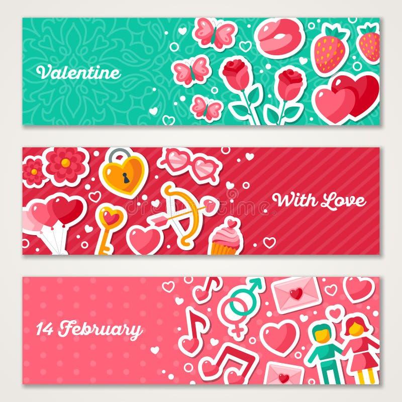 Insegne orizzontali dei biglietti di S. Valentino messe royalty illustrazione gratis