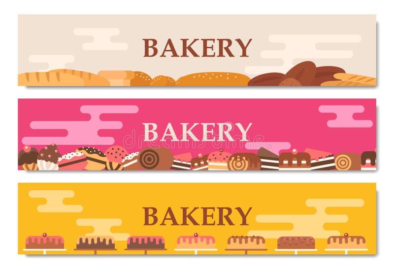 Insegne orizzontali del forno Cuocere, pane e dolci Vettore piano illustrazione di stock