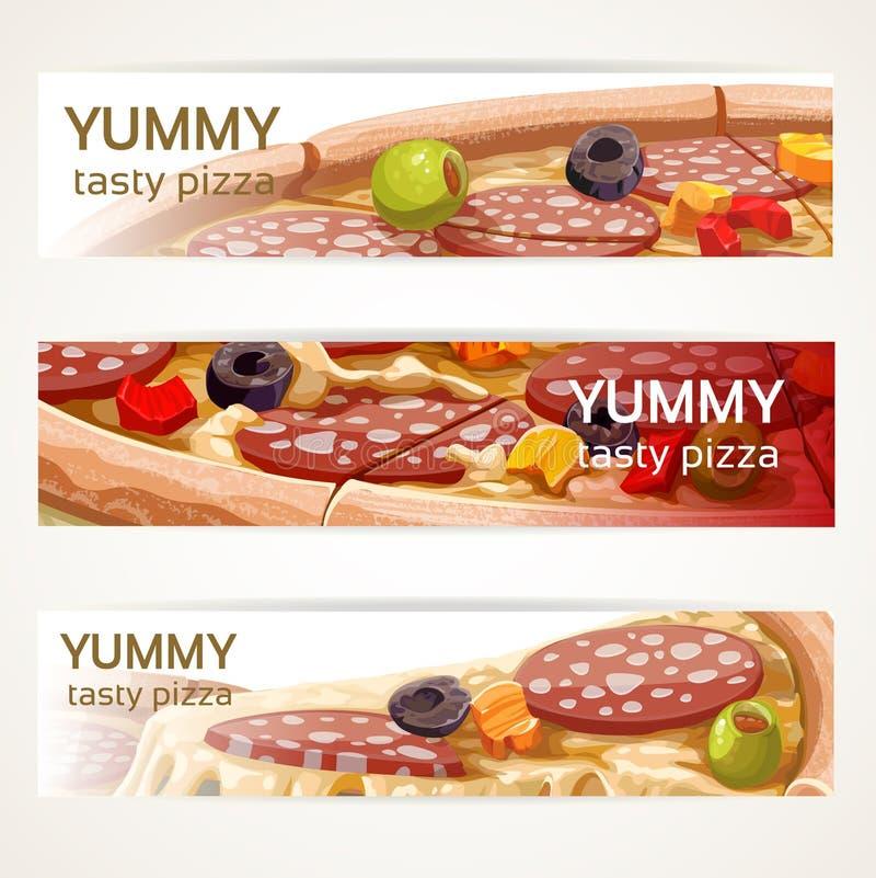 Insegne orizzontali di vettore con pizza saporita royalty illustrazione gratis