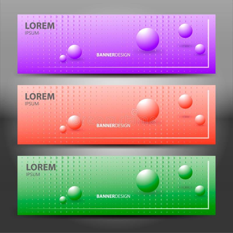 Insegne orizzontali di vettore con progettazione delle molecole Fondo porpora con le perle di semitono sfere illustrazione vettoriale