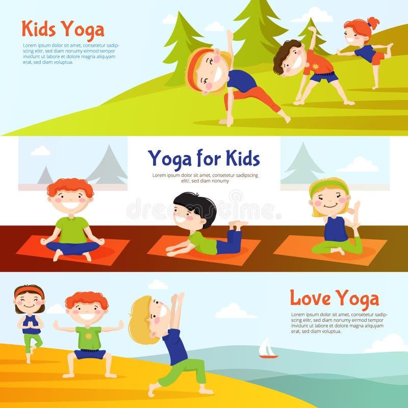 Insegne orizzontali di yoga di Kis messe illustrazione di stock