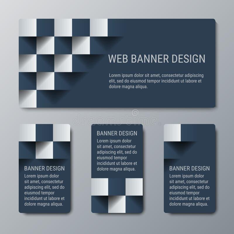 Insegne orizzontali e verticali geometriche con l'effetto 3D per il sito Web di affari royalty illustrazione gratis