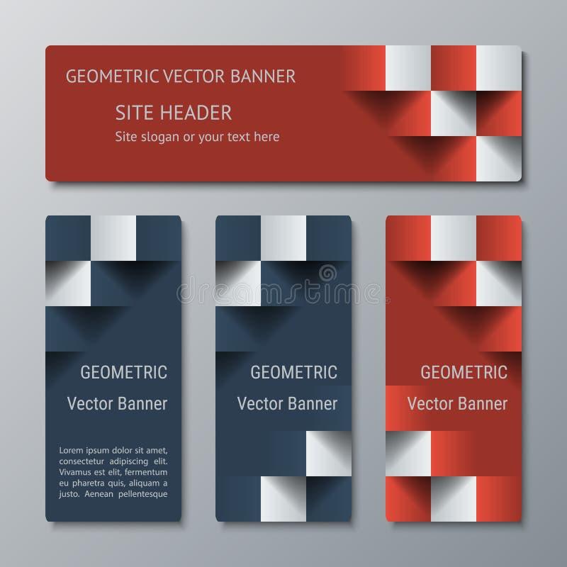 Insegne orizzontali e verticali geometriche della stessa larghezza con l'effetto 3D per un sito Web di affari royalty illustrazione gratis