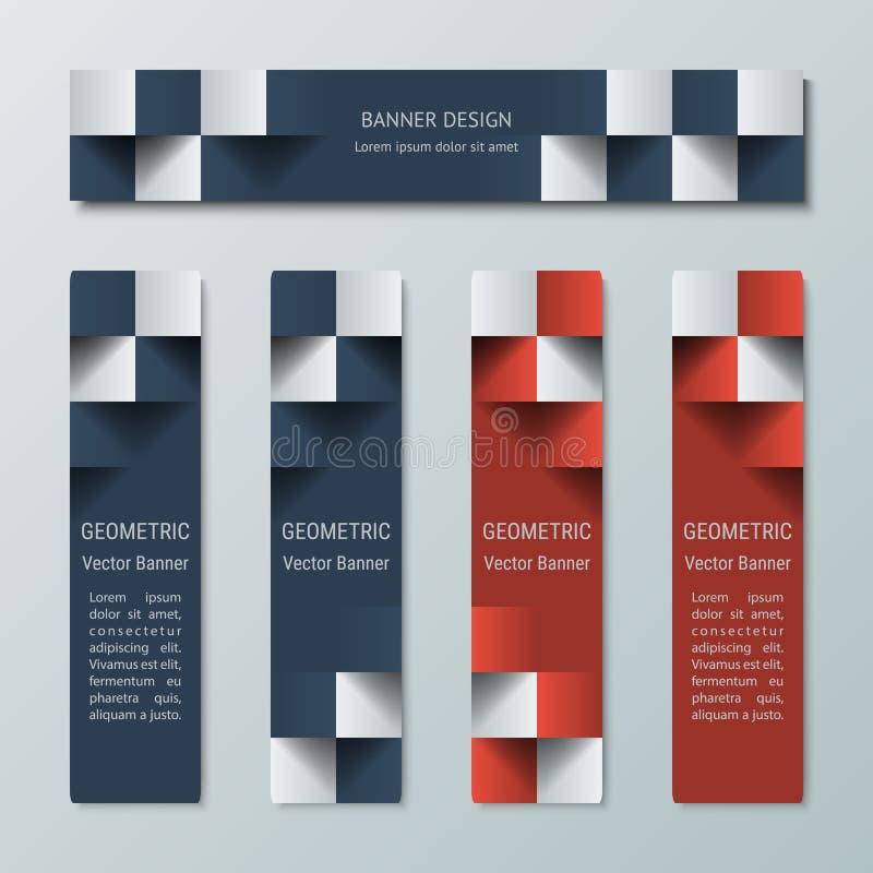 Insegne orizzontali e verticali strette geometriche con l'effetto 3D per un sito Web di affari illustrazione vettoriale