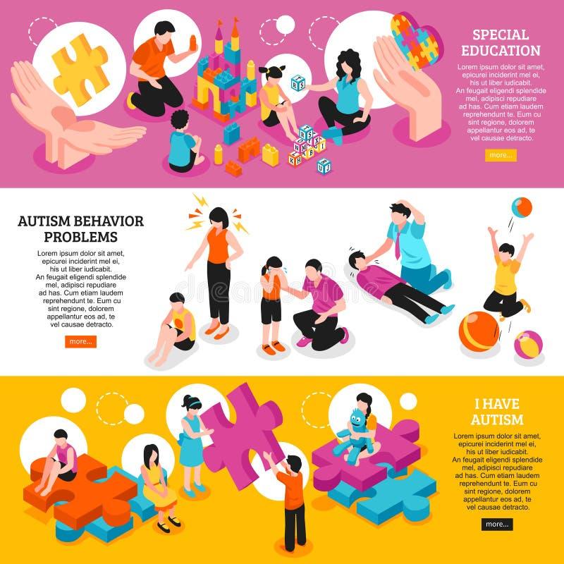 Insegne orizzontali isometriche di autismo royalty illustrazione gratis