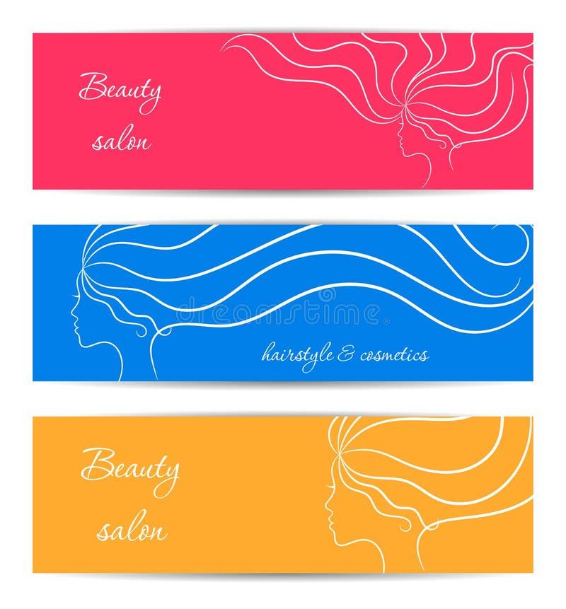 Insegne orizzontali per bellezza e salone dei cosmetici con i profili della ragazza di contorno illustrazione vettoriale