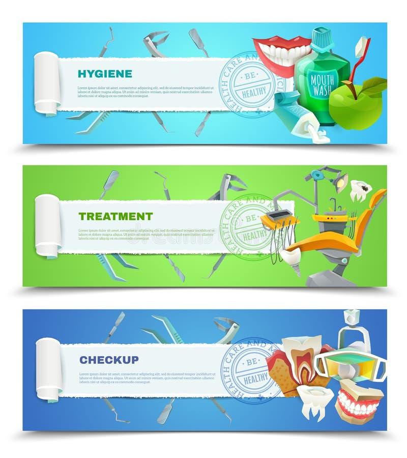 Insegne orizzontali piane del dentista 3 messe illustrazione di stock
