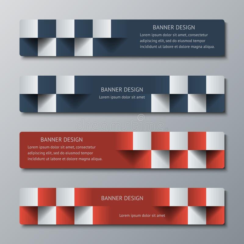 Insegne orizzontali strette geometriche con l'effetto 3D per il sito Web di affari royalty illustrazione gratis