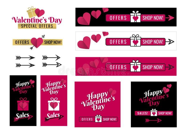 Insegne per il giorno di biglietti di S. Valentino sociale di media Progettazione grafica del testo con l'icona del cuore, il pac royalty illustrazione gratis