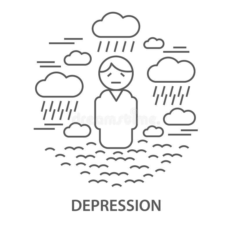 Insegne per la depressione illustrazione di stock