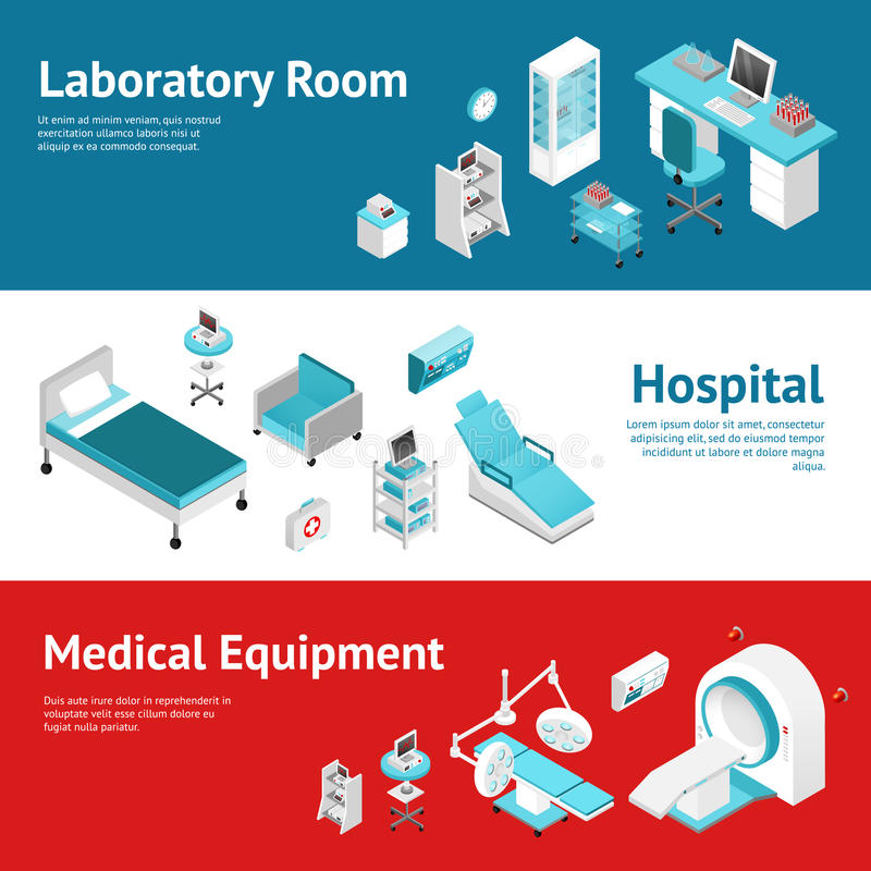 Insegne piane dell'attrezzatura medica dall'ospedale messe illustrazione vettoriale