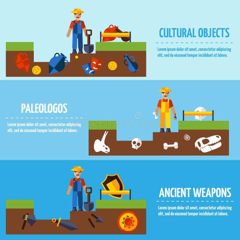 Insegne piane di archeologia di colore messe illustrazione di stock