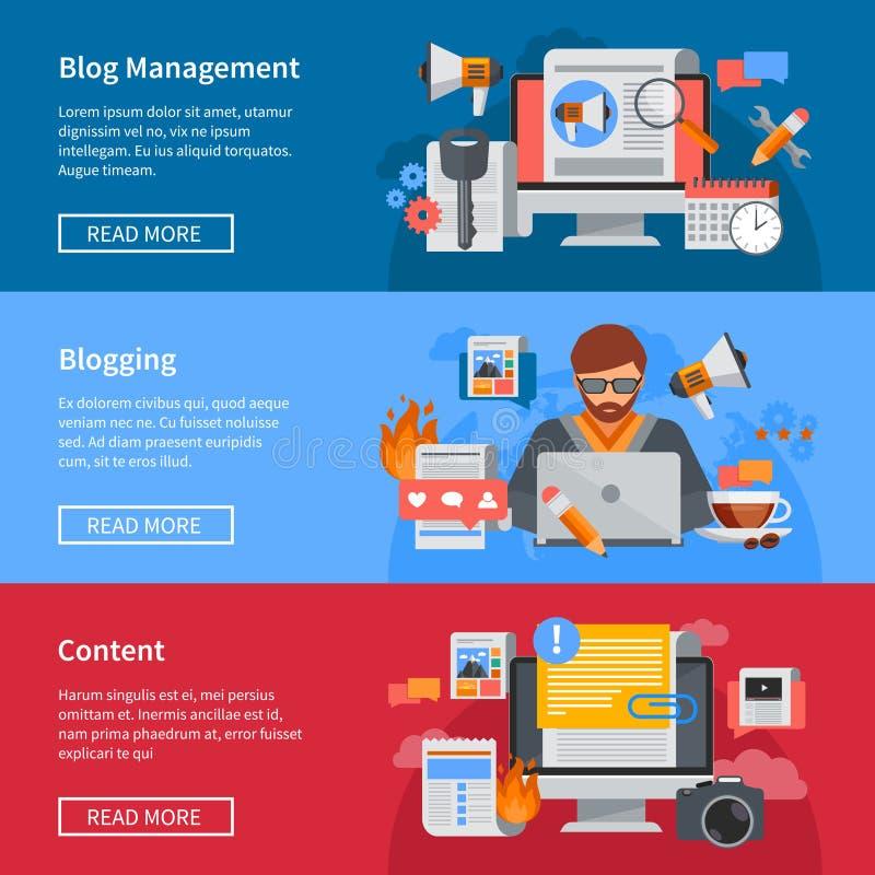 Insegne piane di blogging illustrazione di stock