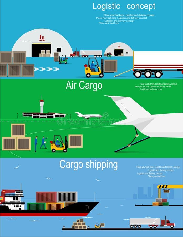 Insegne piane di concetto logistico royalty illustrazione gratis