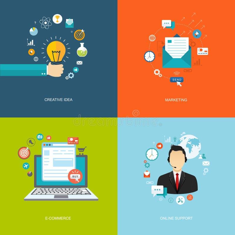Insegne piane di Internet messe Idea creativa, vendita, commercio elettronico, royalty illustrazione gratis