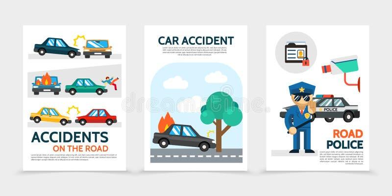 Insegne piane di verticale di incidente automatico royalty illustrazione gratis