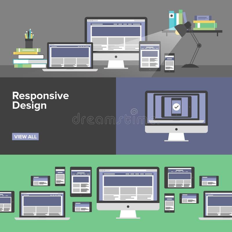 Insegne piane di web design rispondente illustrazione vettoriale