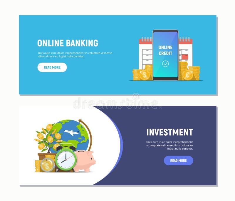 Insegne piane di web di progettazione per attività bancarie online, investimento Modelli moderni di concetti di affari Illustrazi illustrazione di stock