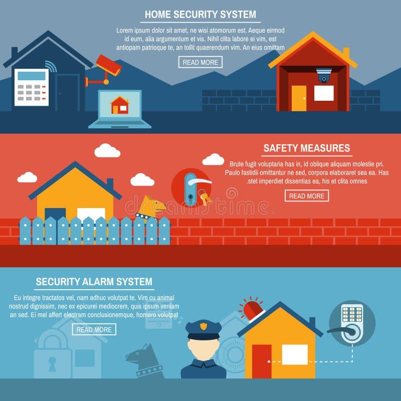 Insegne piane interattive di sicurezza domestica messe illustrazione vettoriale
