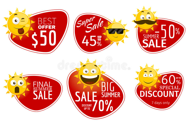Insegne promozionali di pubblicità Etichette di vendita di estate di vettore con il sole sorridente illustrazione vettoriale