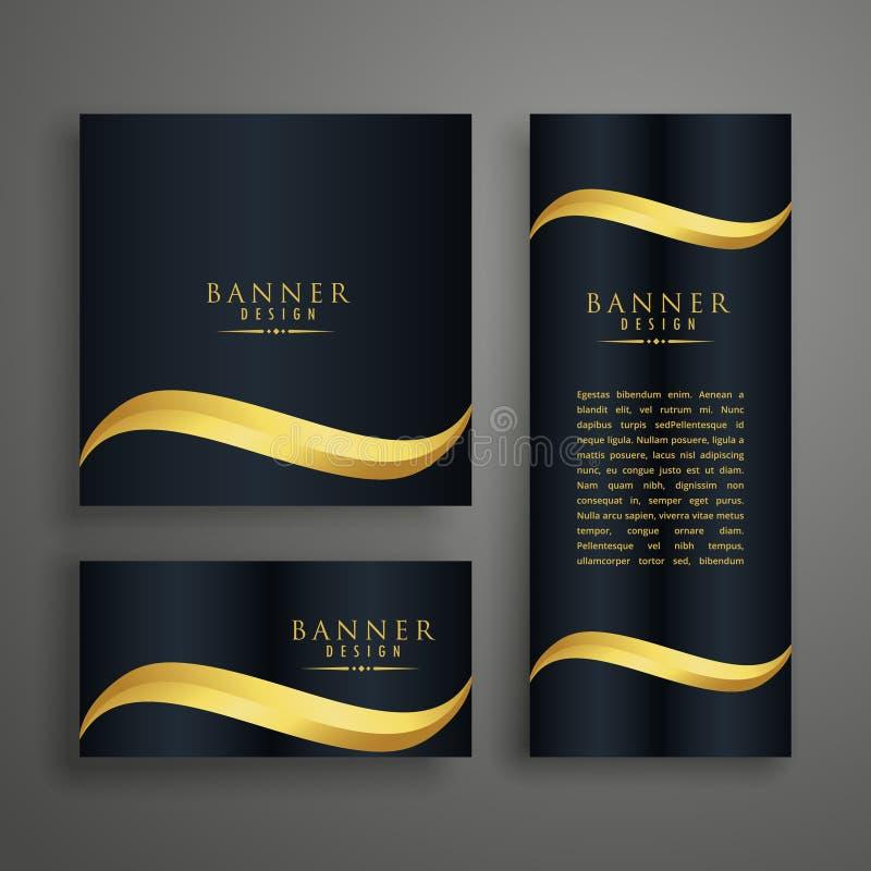 insegne pulite premio o progettazione di carte con l'onda dorata illustrazione di stock