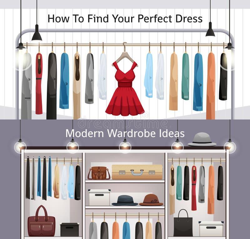 Insegne realistiche del guardaroba moderno royalty illustrazione gratis