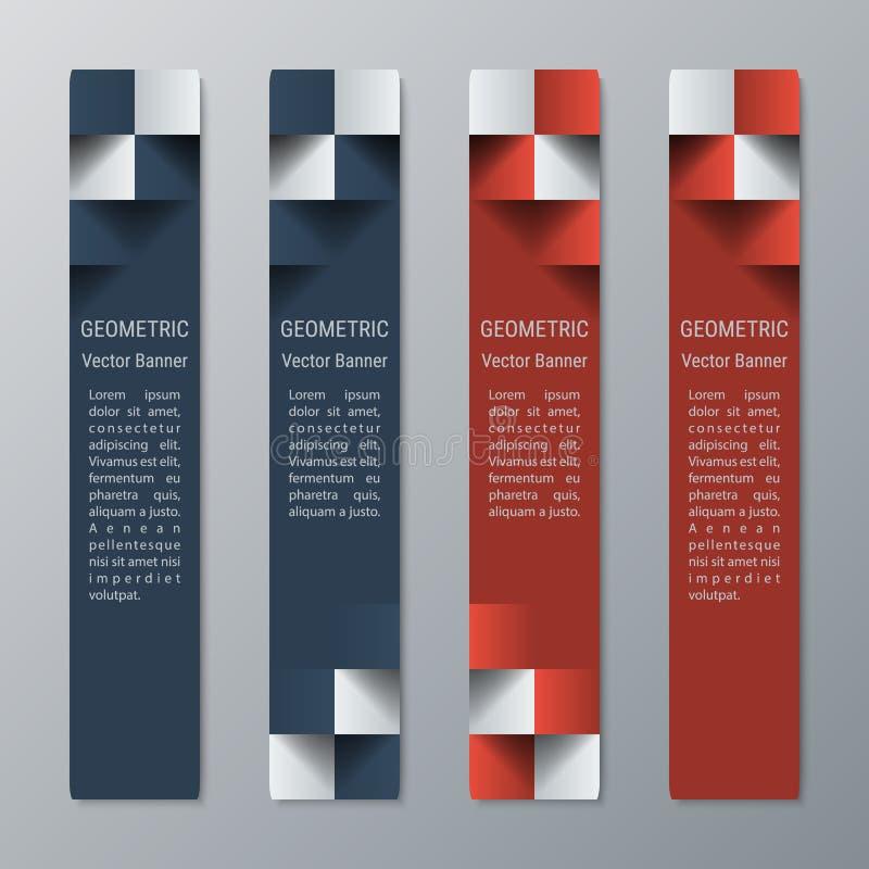 Insegne rettangolari strette verticali geometriche con effetto 3d per un sito Web di affari illustrazione vettoriale