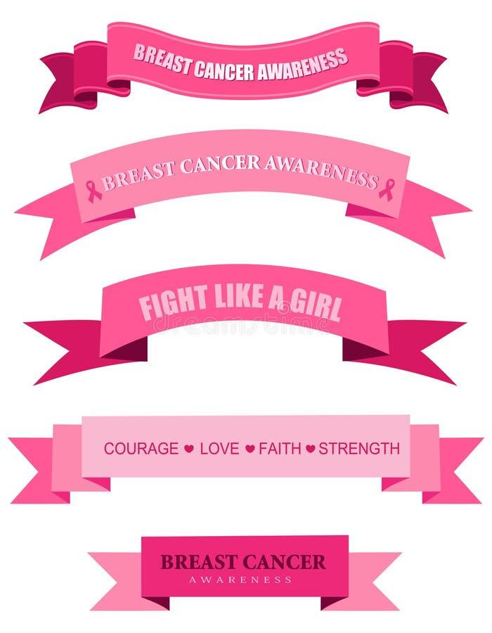 Insegne rosa di web di consapevolezza del cancro al seno royalty illustrazione gratis