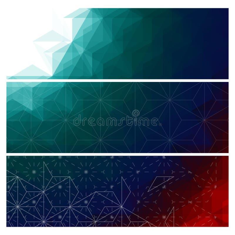 Insegne scure astratte dei triangoli messe illustrazione vettoriale