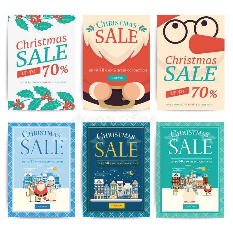 Insegne sociali di vendita di media di Natale per l'annuncio mobile del sito Web Natale illustrazione vettoriale
