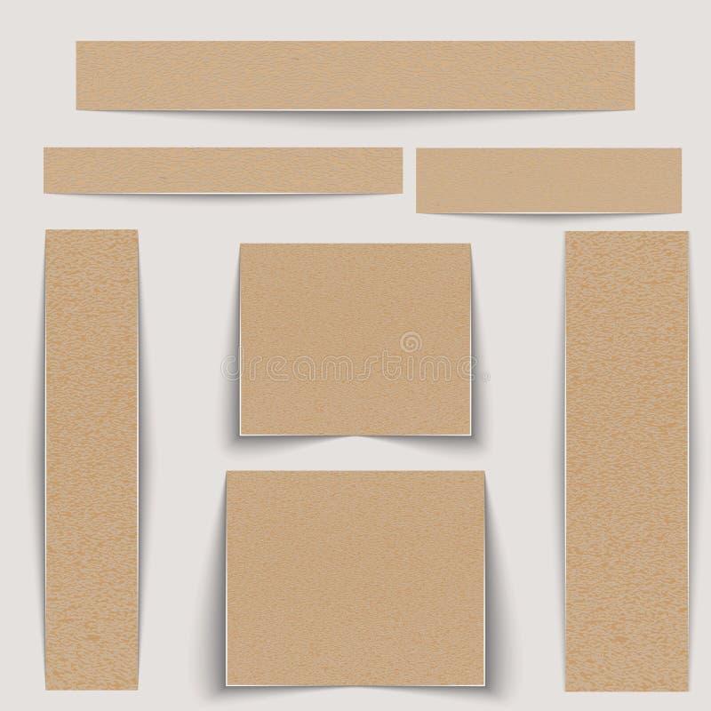 Insegne strutturate messe Strutturi la carta da imballaggio o il cartone delle dimensioni differenti illustrazione di stock